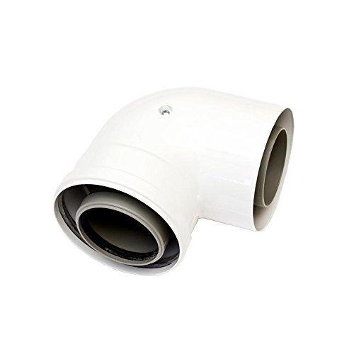 Ariston 3318091 boog 80/125 mannelijk vrouwelijk 90 graden voor condensatoren wit