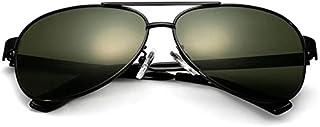 نظارة شمسية كلاسيكية بعدسات مسطحة مرآة بإطار معدني، مستقطبة، حماية من الأشعة فوق البنفسجية بنسبة 100%
