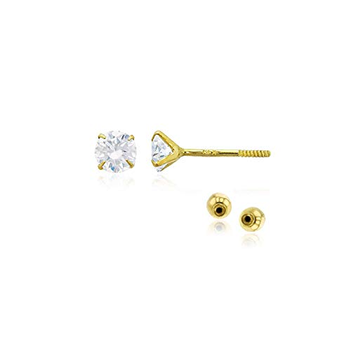 Solid 14k Yellow Gold Hypoallergenic Round Cubic Zirconia Cubic Zirconia Solitaire Stud Earrings For girls With Secure Ball Screw Backs For Women, 3mm