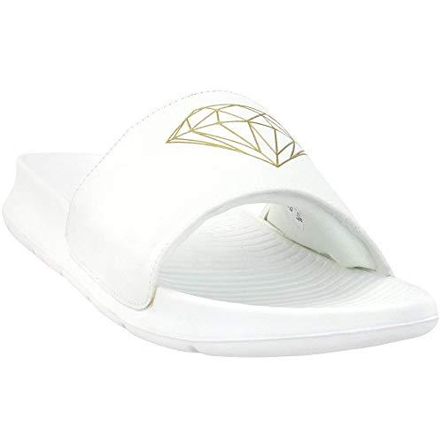 Diamond Supply Co. Womens Fairfax Logo Slide Sandals Sandals Casual - White - Size 8 B
