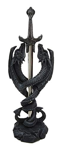Ebros Gift Celtic Knotwork Spiraling Winged Serpent Double Dragon Holding Excalibur Sword Letter Opener Figurine Medieval Fantasy Dungeons and Dragons Decorative Accent Statue