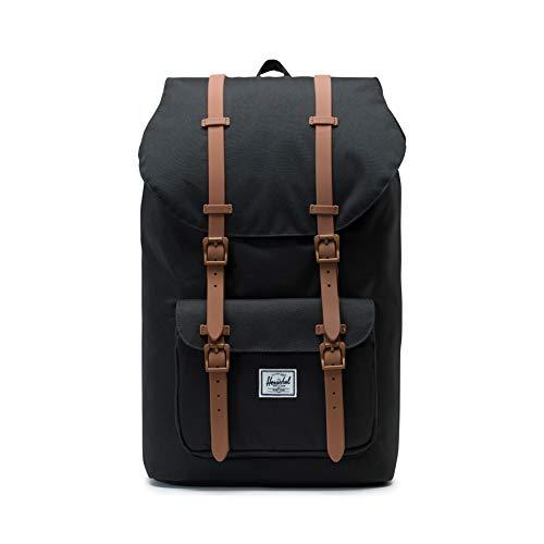 Herschel Little America Laptop Backpack, Black/Saddle Brown, Classic 25.0L