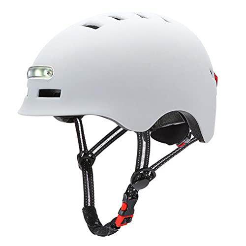 BBABBT Casco de Bicicleta, Carga USB LED Casco Patinete con luz Trasera de Advertencia, Cascos Ciclismo, Casco, Cascos de Ciclismo Ligeros para Hombres y Mujeres Adultos