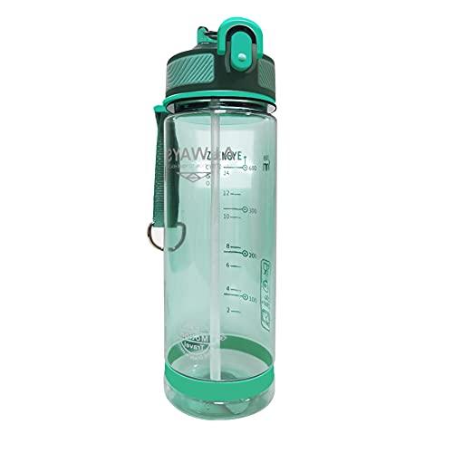 HYCOPROT Botella de agua deportiva de 800 ml con tapa abatible y tapa plegable de popote y bloqueo, a prueba de fugas, plástico sin BPA, hidratante, deportes al aire libre, gimnasio (verde)
