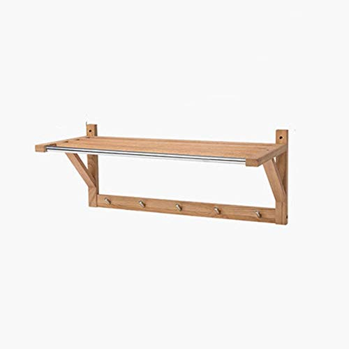 IUYJVR Perchero Perchero Estante de Pared Unidad montada en la Pared Estante Abierto de bambú 5 Ganchos de Metal Baño Pasillo Sala de Estar Cocina Almacenamiento (Color: Wood Color)