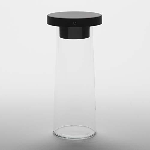 LYM - Suro+Murano26 - Tischleuchte Led Dimmbar Touch Schwarz mit Murano Glasvase Transparent - Warme Licht, Kabelloses Laden - Tischlampe Modern Design - Made in Italy