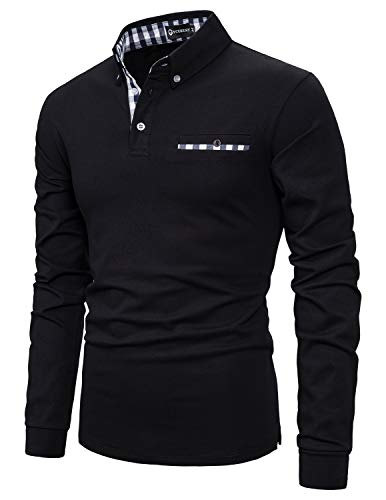 YCUEUST Cotton Lattice Polo Uomo Manica Lunga Basic Golf Casual T-Shirt Nero XXL
