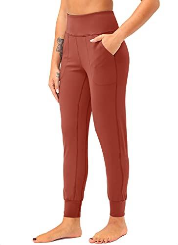 pantaloni donna xl TU BANG SHOU Pantaloni da donna con tasche per telefono a vita alta per allenamento atletico yoga conici pantaloni da yoga per donne pantaloni da yoga (colore : rosso