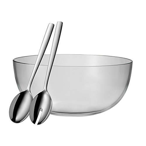 WMF Taverno Salatschüssel Set, 3-teilig, Glasschale Ø 30 cm, Salatbesteck 30 cm, Glas, Edelstahl Cromargan, rostfrei, spülmaschinengeeignet