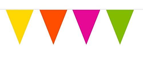 Folat 22681 Banner met 30 driehoek vlaggen-20 m lange vlam Retardant Party Decoratie, Multi-Coloured, One Size Past Meest