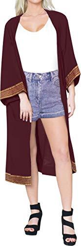 LA LEELA Copricostume Mare Cardigan Donna Taglie Forti- Vintage Rayon Estivo Scialle Elegante Solido Kimono Vestito Lungo Estate Boho Tunica Etnica Abito da Spiaggia Viola_X816