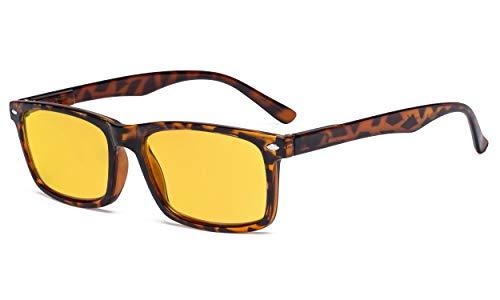 Eyekepper - Gafas de lectura (protección UV, antideslumbramiento, antirreflejos, lentes tintadas de color amarillo primaveral, bisagras para ordenador)