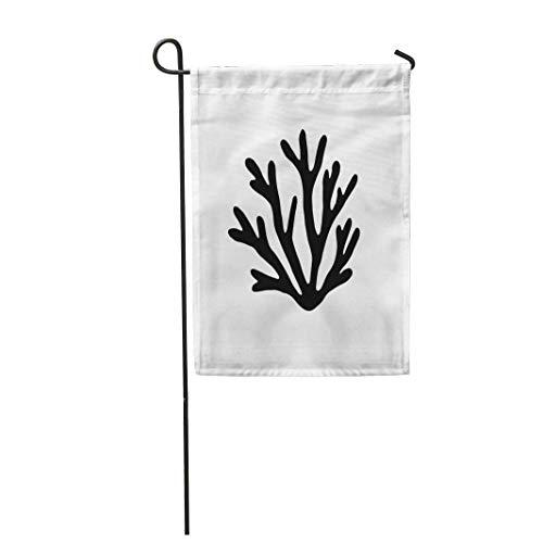 hongwei 12,5 'x 18' Gartenflagge Alge Seekorallen Silhouette Schwarzalgen Aquarium Zeichnung Leben Home Outdoor Dekor Doppelseitige wasserdichte Yard Flags Banner für Party