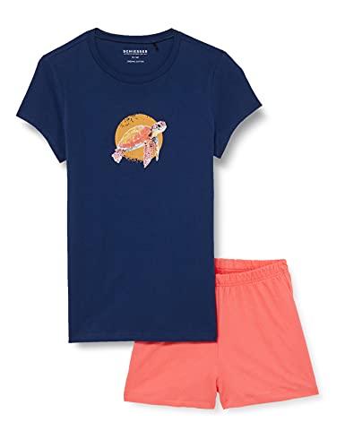 Schiesser Mädchen Schlafanzug kurz Pyjamaset, dunkelblau, 176