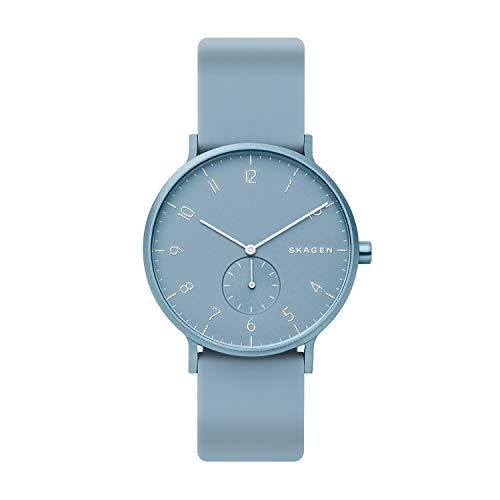 Skagen Unisex Erwachsene Analog Quarz Uhr mit Silikon Armband SKW6509