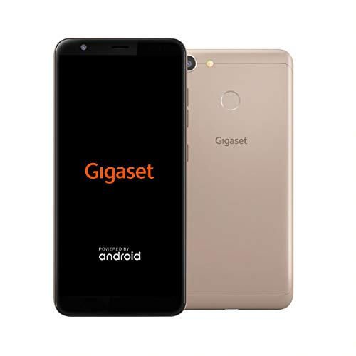 Gigaset GS280 Handy ohne Vertrag Made in Germany- mit Gesichtserkennung, Fingersensor, Dual-Sim (32GB Speicher, 3GB RAM, Full HD+ Display 18:9, 5,7 Zoll), 5000 mAh Akku, 4G LTE) Smartphone, gold