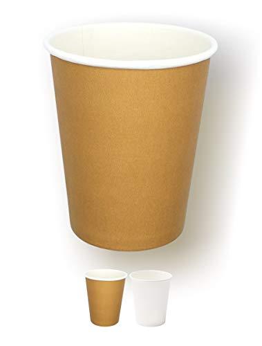 1000/200/100/50 Bicchieri in Carta 240ml Riciclabili Avana Monouso Biodegradabili Compostabili Premium Quality Acqua caffè Thè Cioccolata Calda Cocktail Bevande Fredde Ecologico