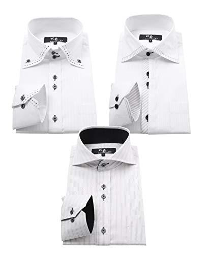 ビジネスマンサポート 北斎 ワイシャツ 長袖 ストレッチ メンズ 3枚セット 形態安定加工 hh 333-L