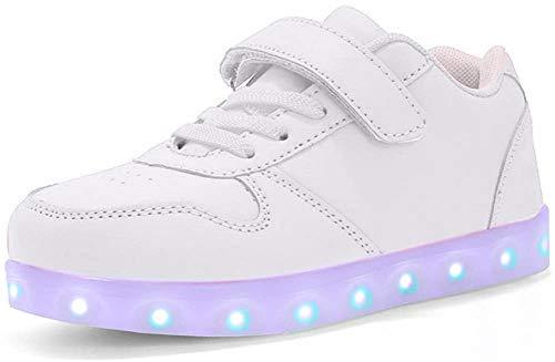 Ansel-UK LED Scarpe Sportive per Bambini Ragazze e Ragazzi 7 Colori USB Carica Lampeggiante Luminosi Running Sneakers Traspirante Basso Ultraleggero Sport Baskets Shoes per Ragazze e Ragazzi
