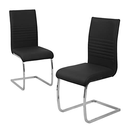 SVITA 2er Set Esszimmerstuhl Freischwinger Polsterstuhl Kunstleder schwarz, grau oder Taupe (schwarz)