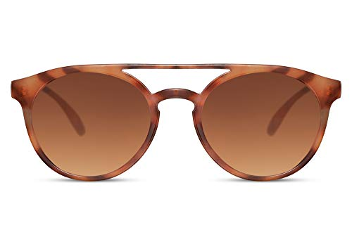 Cheapass Gafas de Sol Lechoso Leopardo Redondas Puente Doble Parte superior Vintage Retro Gafas de Sol Gradual Lentes Marrones Protección UV400 Hombres Mujeres
