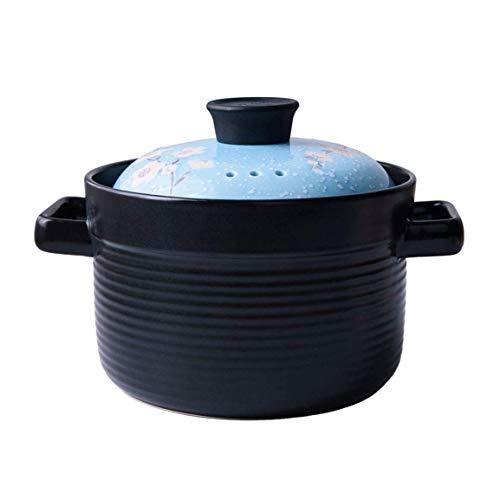 WJHCDDA Runder schwarzer Auflauf/Tontopf/Irdener Topf/Keramikkochgeschirr mit Deckel Hitzebeständiger Fox Girl Onkel Braunbär Geschenkbox (Farbe: Blau)