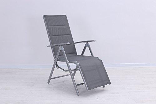 Mandalika Garden Gepolsterter Relaxsessel Bolero Padded Silber, Silber - Taupe, Aluminiumgestell, 7-Fach verstellbar