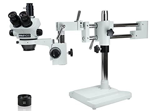 Parco Scientific PA-5IX Trinocular Zoom Stereo Microscope, 10X Widefield(20mm) Eyepiece, 0.7X—5X Zoom Range, 7X—50x Magnification Range, 0.5X Barlow Lens, Double Arm Boom Stand