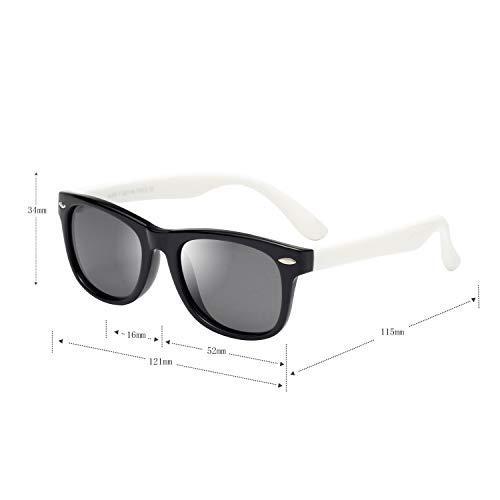 (レンサン) LianSan子供用サングラス 偏光レンズ 赤ちゃん用 男の子と女の子兼用 柔軟なフレーム 安心 かわいい UV400 紫外線対策 UVカット (ブラック ホワイト)