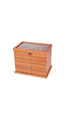 TYZP Joyero de Madera Maciza, Caja de Almacenamiento de Joyas de Varias Capas, Caja de Almacenamiento Retro de Madera