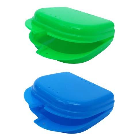 VolaoDent Zahnspangendose Prothesendose Zahnschienendose 2 Stück Blau & Grün flach Aufbewahrungsbox mit Luftlöchern Spangendose