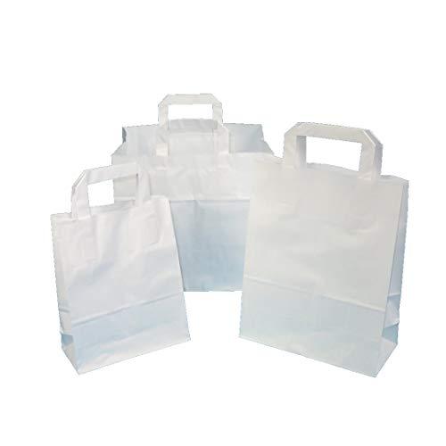 250 Papiertragetaschen Papiertüten Einkaufstüten Tragetaschen aus Papier weiß 70-80g/m² mit Innen Flachhenkel aus Papier Verschiedene Größen zur Auswahl (22+10x28cm 70g)