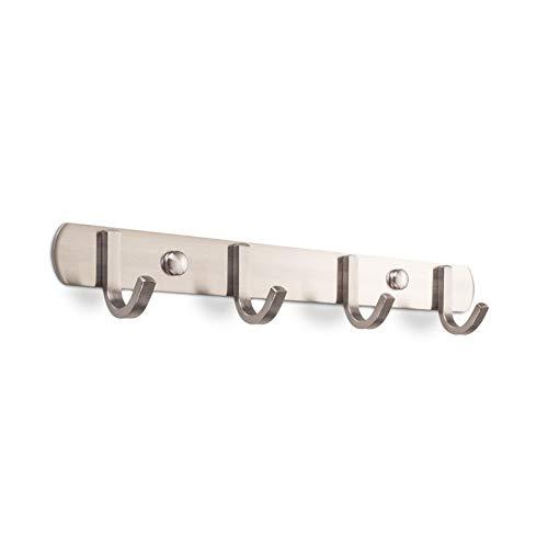 Sotech SO-TECH® 4er Hakenleiste SAMU Handtuchhalter Garderobenhaken Edelstahl gebürstet 300 mm
