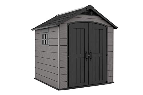 Keter Premier Outdoor Plastic Garden Storage Shed, Grey, 7.5 x 7 ft