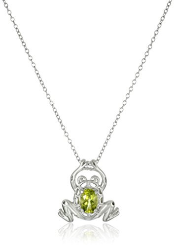 Sterling Silver Genuine Peridot Frog Pendant Necklace, 18