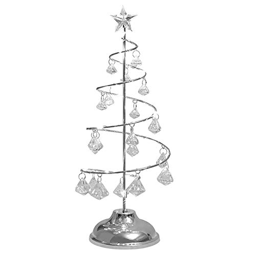 BIOBEY 1pc Crystal Christmas Tree Lamp Table Decor Battery Operated Lamp Fairy Copper Wire for Bedroom Living Room Home Decor Kid Gift