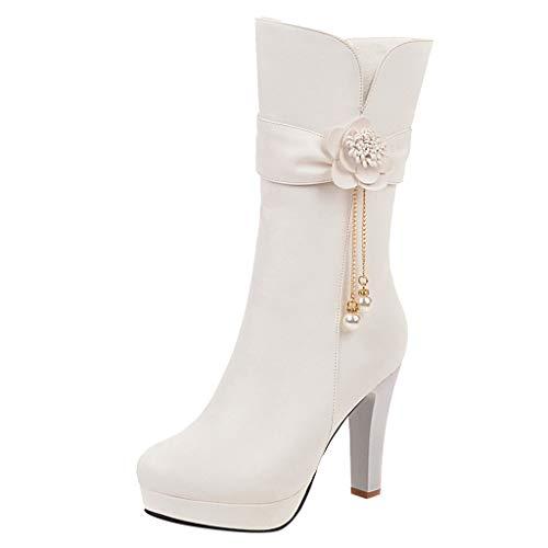 Yowablo Stiefel Frauen Winter High Heel Warme Stiefel Flower Pearl Low Thick Heel Schuhe (41,Weiß)