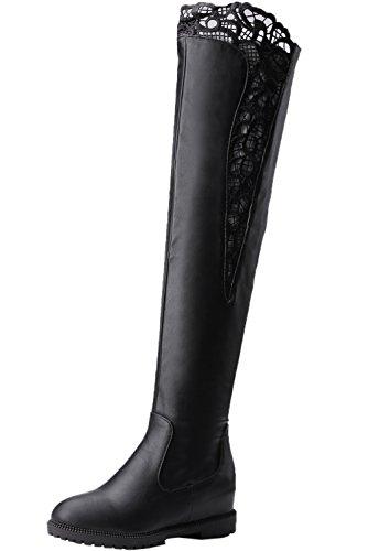 BIGTREE Knie Stiefel Damen Erhöhte Herbst Winter Elegant Bestickte Spitzen Schwarz Casual Flach Lang Stiefel 42 EU