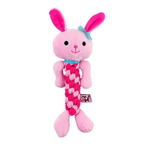 Ruiting Plüschspielzeug Hund,Seil Hase Form, Kauspielzeug, Quietschspielzeug Interaktives Spielzeug Welpenspielzeug, 8 * 20cm 1 Stück(Rosa)