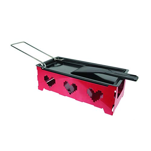 BISTROT KC2319 Appareil A RACLETTE Chauffe Plat Solo, Acier, Rouge/Noir, 29,8 x 9,1 x 9,5 cm