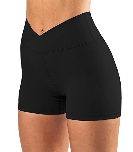 Puedizux Women's High Waisted Biker Shorts Cross Waist Workout Yoga Shorts Running Leggings with/no Pocket