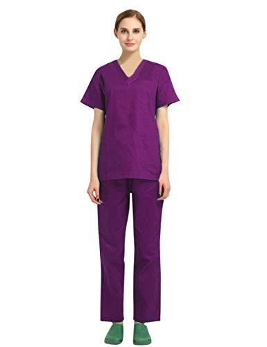 AIEOE Algodón Uniformes de Escote V Hombre Mujer Conjunto de Trabajo con Bolsillos Casaca de Mangas Cortas y Pantalones Laboral de Enfermería