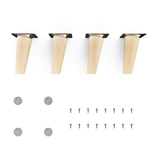 sossai® Holz-Möbelfüsse - Clif | Natur (unbehandelt) | Höhe: 10 cm | HMF2 | rund, konisch (schräge Ausführung) | Material: Massivholz (Buche) | für Stühle, Tische, Schränke etc.