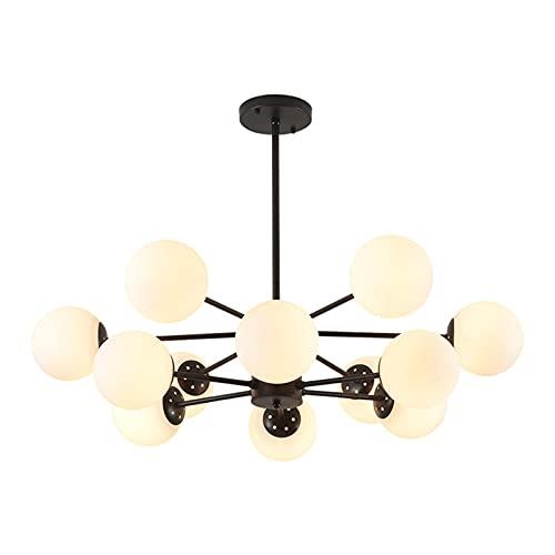 Lámpara de araña de cristal de 12 luces, moderna lámpara colgante Sputnik E27 de montaje empotrado con pantalla de cristal de globo blanco para dormitorio sala de estar