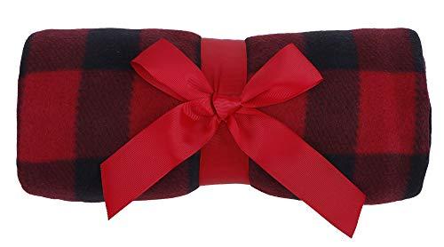 Simplicity cobija suave y cálida de polar con estampado, 50 x 60 pulgadas, Lana, Rojo, talla única
