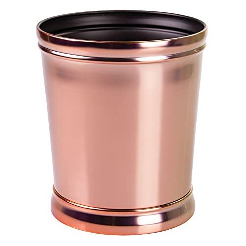 mDesign Papelera metálica – Cubo de Basura, Ideal para la Cocina, el baño o la Oficina – Papelera de diseño Actual Accesorios de Cocina y baño - Oro Rosa