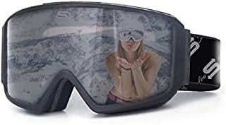 Polarized Ski Goggles OTG fit Over Glasses with Anti Fog Locking Magnetic Lens Comfortable Foam Wide Field of View for Men or Women
