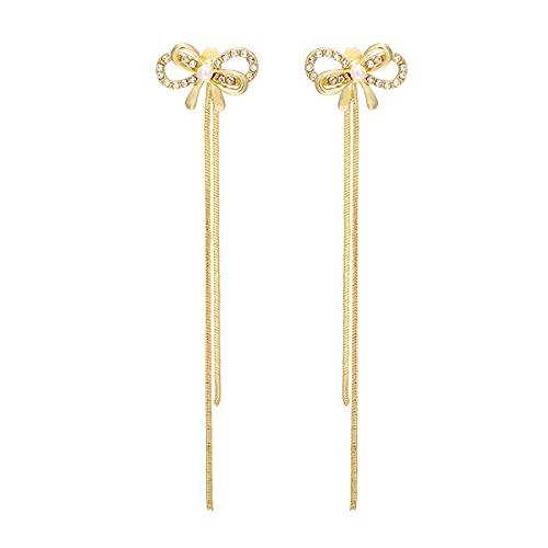 FEARRIN Pendientes para Mujer Stud Long Bowknot Crystal Tassel Pendientes Colgantes de Color Dorado para Mujer Wedding Drop Earing Joyería Regalos H125-K648