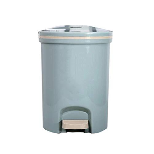 LZZB Juego Combinado de Bote de Basura Papelera de Reciclaje de residuos 13L / 16L Tipo de Pedal Bote de Basura Plástico para el hogar con Tapa Desodorante Bote de Basura Papelera (Color: Azul, T