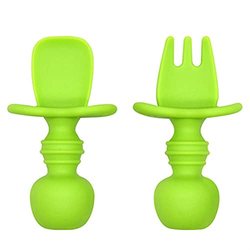 AIysays Baby Feansing Fork and Spoon Set Safety Silicone Silicone Niños Aprendizaje Aprendizaje Vajilla Ergonómico Maneja Free Diet Setware Set Easy to Use (Color : GR)